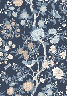 Emily for Lexington is inspired by a fragment of old Cretonne-patterned wallpaper found in a New England archive. Bold tree patterns with birds like these were popular in the USA in the late Emily is printed using an old collograph printing techni Wallpaper Roll, Pattern Wallpaper, Tree Patterns, Print Patterns, Deco Blue, Botanical Wallpaper, Borders For Paper, Blue Wallpapers, Wall Colors