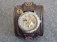 leon / Steampunk hodinky hnedo čierne červená niť