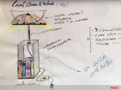 """boceto de lámpara """"light, book and wine"""" de moix. 75 €."""
