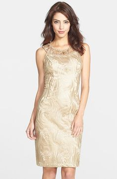 Sue Wong Beaded Neck Embroidered Sheath Dress available at #Nordstrom CASEY