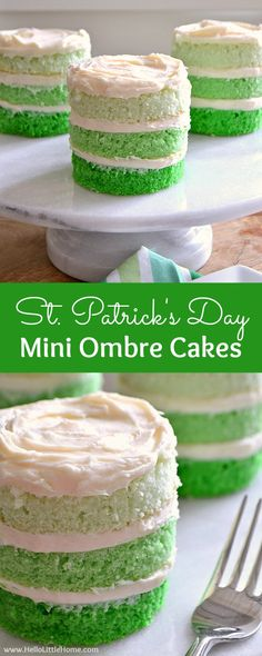 St. Patrick's Day Mini Ombre Cakes ... the perfect dessert recipe for St. Patty's Day! Easy step by step tutorial and recipe for making layered ombre cakes. A fun green St Patrick's Day recipe ... or customize the colors for any ocassion! | Hello Little Home