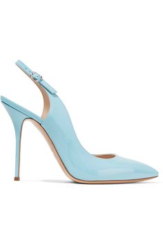 Casadei Tiffany patent leather slingback pumps