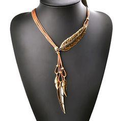 Mode bohème chaîne de corde noire de Style motif de plume pendentif collier pour les femmes bijoux Collares collier surdimensionné dans Pendentifs de Bijoux et accessoires sur AliExpress.com | Alibaba Group
