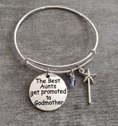 The Best Aunts get promoted to Godmother, Godmother Gift, Godmother Bracelet, God Mother,Adjustable, Expandable, Bangle Bracelet, gift by SAjolie, $19.75 USD
