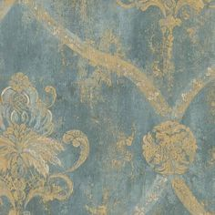 """I LOVE this wallpaper!! Maybe add board and batten in living room and do this the top 20""""? It would lighten up the room from the huge dark brown couch...    Patton Wallcovering Teal CH28248 Trellis Medallion Damask Wallpaper"""