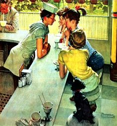 "Norman Rockwell ""The Soda Jerk"" (1953) Notice the darling poodle listening in....;o)"
