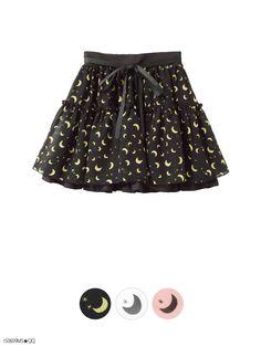 【M~LL】月&星柄シフォン♪ボリュームウエストリボン付チュチュスカート