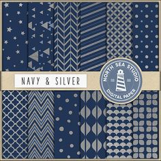 Buy More Save More!  Navy silver foil digital paper with shiny metallic chevron, polkadots, stars, triangles and stripes pattern and navy backgrounds. This scrapbook paper is perfect for any DIY creative projects such as: making invites, greetings cards, invitation cards, gift wrap, stationary and other creative projects.  This paper is highly realistic, made using a true silver sheet and later used to create the highly detailed pattern. If you are printing out silver foil papers, I highly…