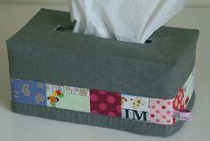 Pattern: Tissue box cozy. Patchwork tissue by Threekitchenfairies