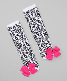 Take a look at this Pink & Black Damask Bow Leg Warmers by Petunia Petals on #zulily today!