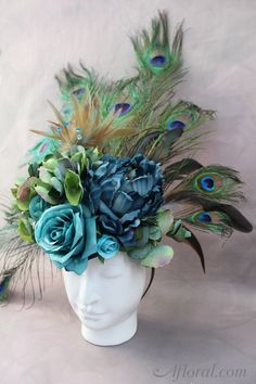 DIY Peacock Costume.  Make this amazing headpiece and tail with this simple DIY and products from Afloral.com.