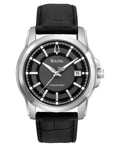 Meticulously crafted by Bulova, this Precisionist watch delivers a dark design with the precision you demand in a watch. Accurate to 10 seconds a year. | Black leather strap | Round stainless steel ca