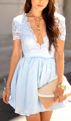 Light Blue Lace Dress Open V in Front and at the Back. Summer Fashion Looks.