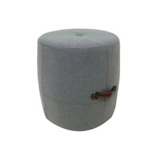 "DRUM STOOL With this petite pouffe, you can layer in a leather texture without a big commitment. Just right as a small ottoman, quick pull-up seating or as an impromptu side table, the hardwood frame is richly padded and covered in rich upholstery. Leather carrying handles for easy transporting.  Dimensions: 17"" x 17"" x 18"" $29"