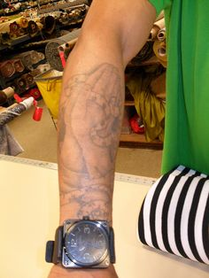 If you're in Fishman's Fabrics in Chicago, you can find this sewing tattoo on one of the friendly salesmen. Guess who it is.