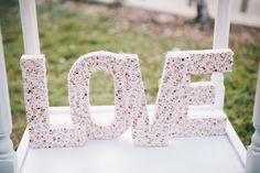 freestanding fabric-wrapped letters vintage inspired hadmade wedding decor