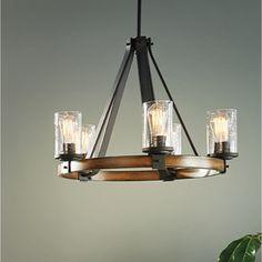 Shop Kichler Lighting Barrington 3-Light Distressed Black and Wood Chandelier at Lowes.com
