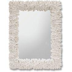 Gardenia White Coral Coastal Beach Mirror ($3,338) ❤ liked on Polyvore featuring home, home decor, mirrors, wall art, rectangular mirrors, rectangle mirror, white home accessories, coral home accessories and white home decor