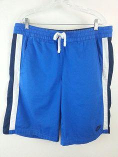 NIKE Men's Shorts M Blue Striped Flat 100 % Cotton Athletic White &Black Stripes #Nike #Athletic #ebay #Nike #Athletic