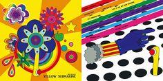 Beatles yellow submarine album cover illustration design