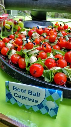 Golf theme party best ball caprese appetizers