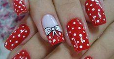 Red and White Dot bow Nail Art Nail Art Dotting Tool, Bow Nail Art, Nail Art Set, Fancy Nails, Red Nails, Love Nails, Pretty Nails, Red Manicure, White Nails