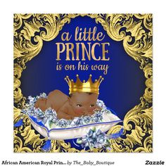 African American Royal Prince Baby Shower Card