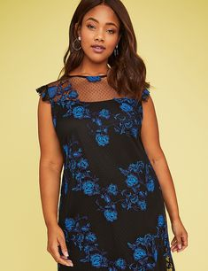 Embroidered Mesh Swing Dress | Lane Bryant