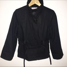Old Navy black funnel neck jacket •Old Navy• black funnel neck jacket. Tie waist and button closure down front. Size XSmall. Sleeves are not quite full length, but I folded once to make them a cute 3/4 sleeve. Old Navy Jackets & Coats