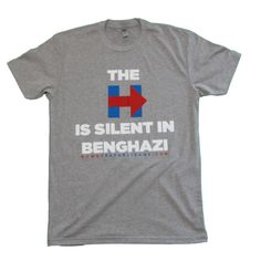 The H is Silent in Benghazi Gray T-Shirt! Hillary was silent in Benghazi letting Americans die & then she lied about it all & tried to silence everyone else who stood with the truth.