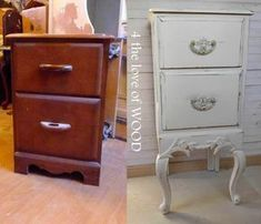 LADIES FRENCH NIGHTSTAND - before and after #refurbishedfurniture