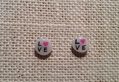 Hand Drawn Love  Studs by hopeofallhearts on Etsy, $8.00