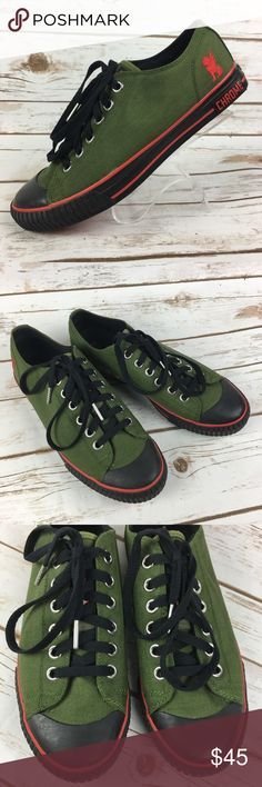 Chrome Red Soles Urban Olive Green Canvas Shoes These shoes are in very good, lightly worn condition. Minor scuffs, scratches and marks from wear. Please see pics for more details (: Chrome Red Soles Shoes Sneakers