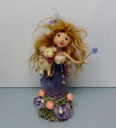 "Fairy Tale Flower Fairy Lamb Cake Topper 8-1/2"" mohair glass eyes wool needle felted spun cotton tinsel vintage inspired- Olivia & Lamb on Etsy, $68.27 CAD"