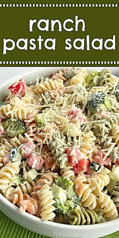 Ranch pasta salad is an easy side dish that's only 6 ingredients. Tri-color spiral pasta, cucumber, broccoli, tomatoes, parmesan cheese and ranch dressing. Easy Pasta Salad Recipe, Healthy Salad Recipes, Pasta Recipes, Dinner Recipes, Cooking Recipes, Simple Pasta Salad, Best Pasta Salad, Healthy Dishes, Meat Recipes