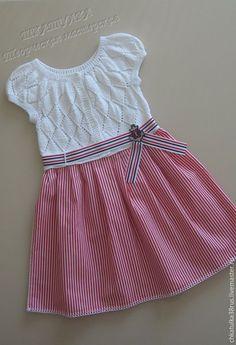 """Купить Авторское платье для девочки в морском стиле """"Моя морячка"""" - вязание спицами, платье для девочки:"""