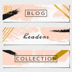 一套三個手繪筆觸頭設計。柔和的粉色,黑色和金色的調色板。現代而優雅的博客設計元素。 免版稅剪貼畫,向量插圖和股票. Image 38781628. Pastel Pink, Pastel Colors, Header Design, Sale Banner, Blog Design, Golden Color, Brush Strokes, Color Inspiration, Design Elements