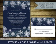 Winter Wedding Invitations Snowflakes Dangling Lights and snowflake design In Navy Blue DIY DIgital Printable Wedding Invitations Files by NotedOccasions, $45.00