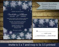 Winter Wedding Invitation Snowflakes Dangling Lights and snowflake design In Navy Blue DIY DIgital Printable Wedding Invitations Files