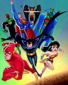 Justice League by Bruce Timm. Marvel Dc Comics, Dc Comics Art, Justice League Unlimited, Bruce Timm, Final Fantasy, Of Wolf And Man, Harley Quinn, Comics Illustration, Univers Dc