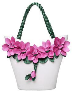 Women's Pink Flower Applique Leather Handbag