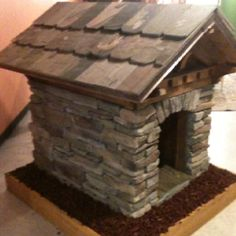 Cool dog house! make a dog  house and use that glue on faux stone you buy at home depot...to make a cute dog house
