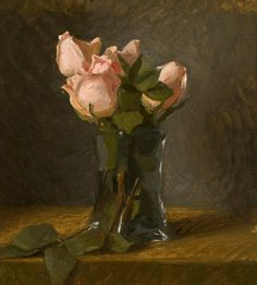 "Roses in Tall Vase Oil on Linen 9"" x 10"" 2014 : Kelly Carmody"