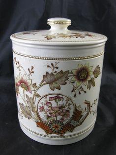 Victorian Aesthetic Movement Brown Transferware Biscuit Barrel 1884