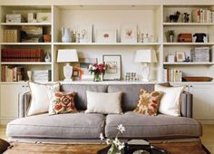gray couch and built ins
