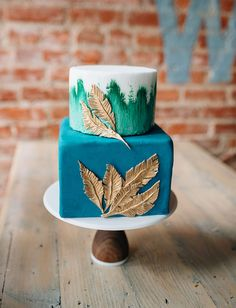 Fall Gold Feather Cake