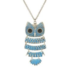 Long Turquoise and Silver Owl Pendant - 6.99 euros