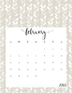 free feb 2018 calendar
