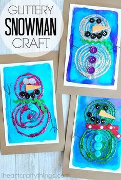 #ad This swirly glue and glittery snowman craft is bright, gorgeous and perfect for displaying all winter long. Fun preschool craft and winter kids craft.
