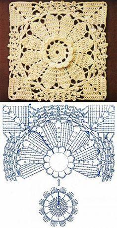 Beautifully detailed crochet square                                                                                                                                                      Mais